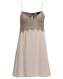 Serenade Lace Detailed Chemise Taupe