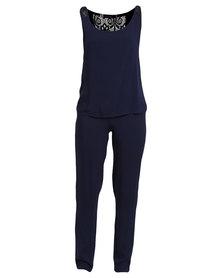 Serenade Shoulder Lace Detailed Sleepwear Set Blue