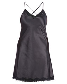 Serenade Satin Chemise with Lace Trim Black
