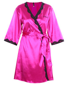 Serenade Satin Robe with Lace Trim Fuchsia