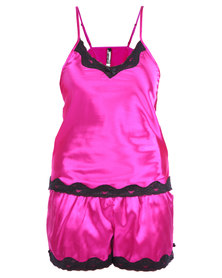 Serenade Satin Camisole and Shorts Set with Lace Trim Fuchsia