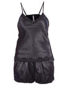 Serenade Satin Camisole and Shorts Set with Lace Trim Black