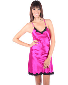 Serenade Satin Chemise with Lace Trim Fuchsia