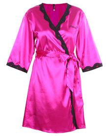 Serenade Satin Robe with Lace Trim Fuchsia
