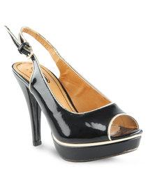 Serla Slingback Peep-Toe Platform Heels Black