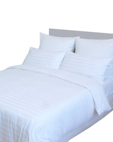 Sheraton Dobby Broadstripe 300 Thread Count Duvet Set White