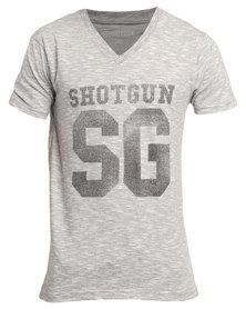 Shotgun Short Sleeve V-Neck T-Shirt Grey