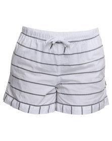 Silent Theory Surrender Stripe Short White