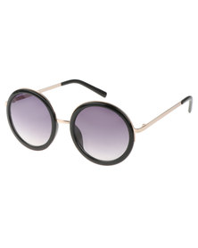 SKYE London Metal Bridge Round Sunglasses Black