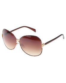 SKYE London Metal Bridge Oversized Sunglasses Brown