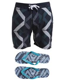 Smith & Jones Mens Diffraction Swimshort Blue