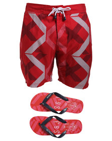 Smith & Jones Mens Diffraction Swimshort Red