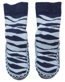 Socks Ons Zebra Mock Ons Blue