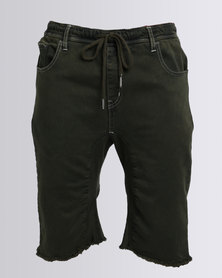 Sons Of Edwardian Premium Knitted Denim Shorts Green