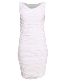 Soto Ruched Mesh Dress Ivory