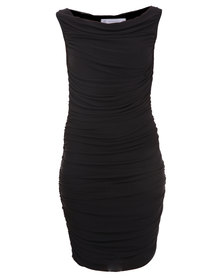 Soto Ruched Mesh Dress Black