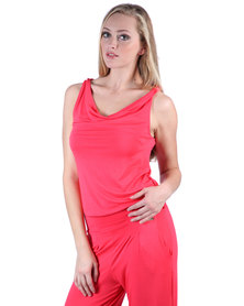 Soto Twist Jumpsuit With Cowl Neck Coral