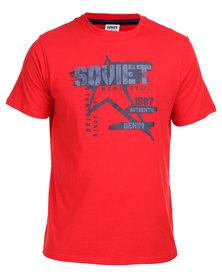 Soviet Tucker Short Sleeve Crew Neck Printed Tee Red