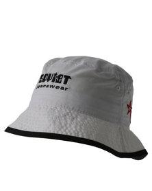 Soviet Nylon Bucket Hat With Contrast Binding White