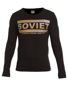 Soviet Toby Long Sleeve Crew Neck Tee with Chest Print Black