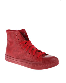 Soviet Viper Snake Hi Cut Sneaker Red
