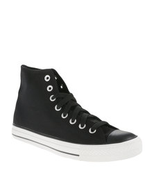 Soviet Mirada Hi Cut Canvas Mono Upper Sneakers Black