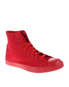 Soviet Swinger Hi Cut Canvas Slim Sneakers Red