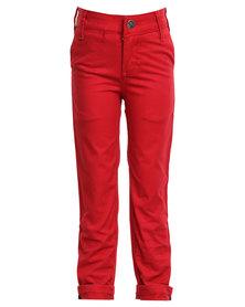 Soviet Apparel Falcons Slim Leg Fashion Chinos Red