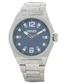 Soviet Blue Dial Silver-Tone Bracelet Watch