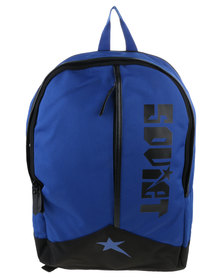 Soviet Large Nylon Backpack With Leather Trim Royal Blue And Black