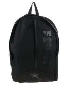 Soviet Large Nylon Backpack With Leather Trim Black