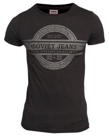 Soviet Theodore Short Sleeve Crew Neck Tee With Chest Print Black