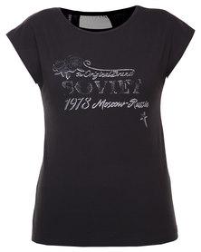 Soviet Jane Printed T-Shirt Black