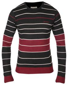 Soviet Angus Long Sleeve Crew Neck Stripe Tee Black