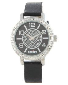 Soviet Black Dial Diamante Watch