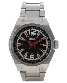 Soviet Black Dial Analogue Bracelet Watch Silver-Toned