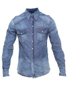 Soviet Indiana Denim Shirt Blue