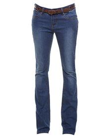 Soviet Karen Bootleg Jean with Belt Blue