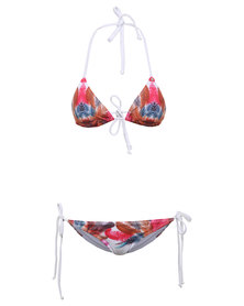 Soviet Tahiti Feather Print Triangle Bikini Set Multi