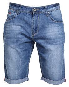 Soviet Wilkinson Denim Shorts with Turn Up Blue