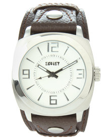 Soviet Double Stud Analogue Watch Brown