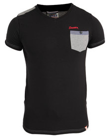 Soviet Levitt V Neck T-Shirt With Pocket Black