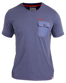 Soviet Ford Crew Neck T-Shirt With Pocket Blue
