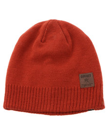 Libra Rib Hem Patch Beanie Red