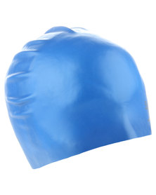 Speedo Plain Moulded Silicone Cap Blue
