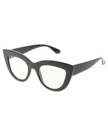 Spitfire Retro Cats Eye Clear Lens Glasses Black