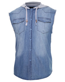 St Goliath Armour Sleeveless Denim Shirt Blue