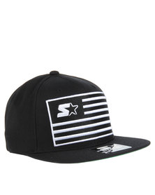 Starter Flag Snap Back Cap Black