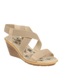 Step on Airs Saskia Chunky Slingback Leather Wedge Nude