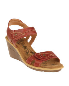 Step on Airs Destin Jazzy Chunky Leather Wedge Sandal with Ankle Strap Red